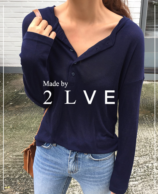 Made by 2lve ★ pale 버튼 티 2